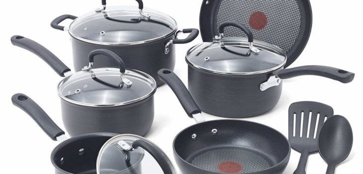 T-fal E765SC Hard Anodized Cookware Set