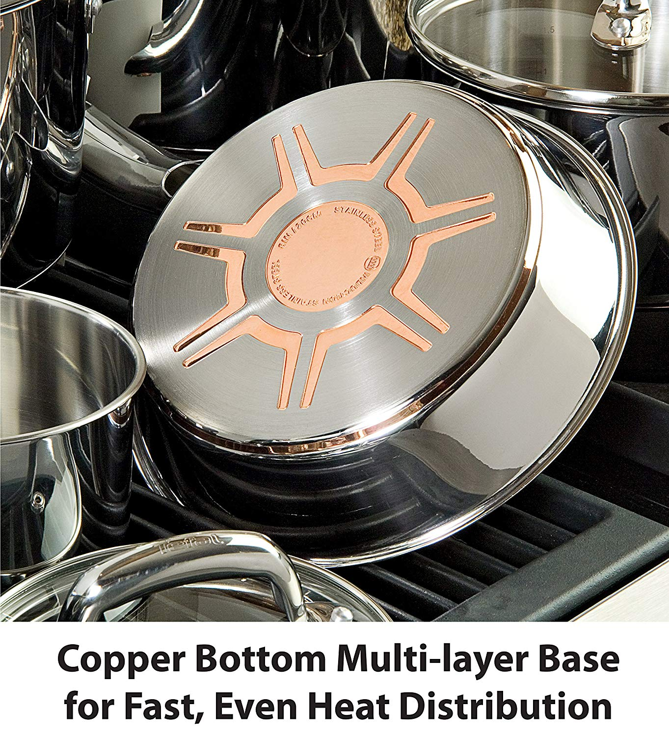 t-fal c836sc Copper Bottom Multi-layer Base for fast, Even Heat Distribution