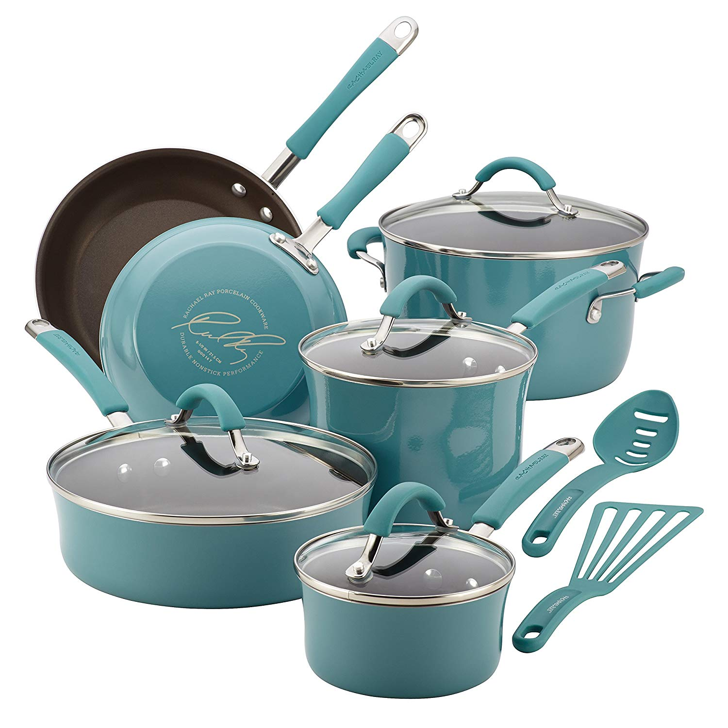 Rachael Ray Cucina Hard Porcelain Enamel Nonstick Cookware Set,