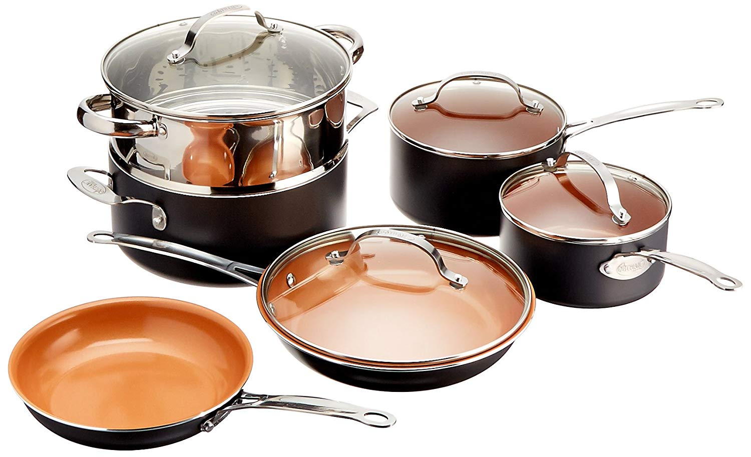 gotham steel 10 piece non-stick cookware set