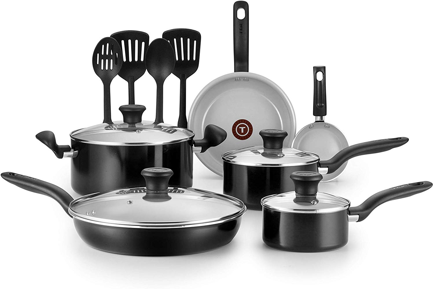 t fal 14 piece ceramic cookware set