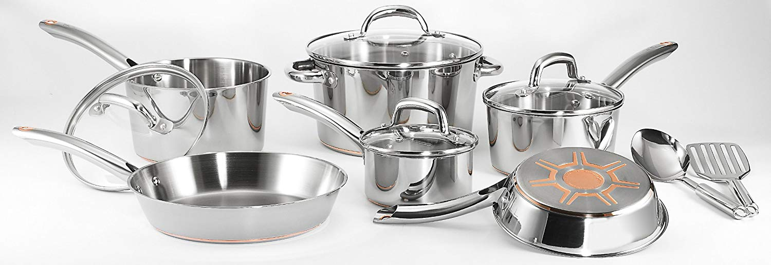 t-fal c836sc stainless steel copper bottom Cookware Set