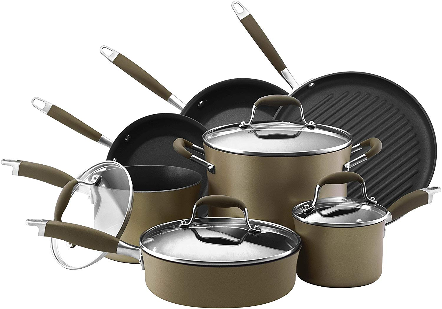 Anolon Advanced Bronze Hard-Anodized Nonstick 11-Piece Cookware Set